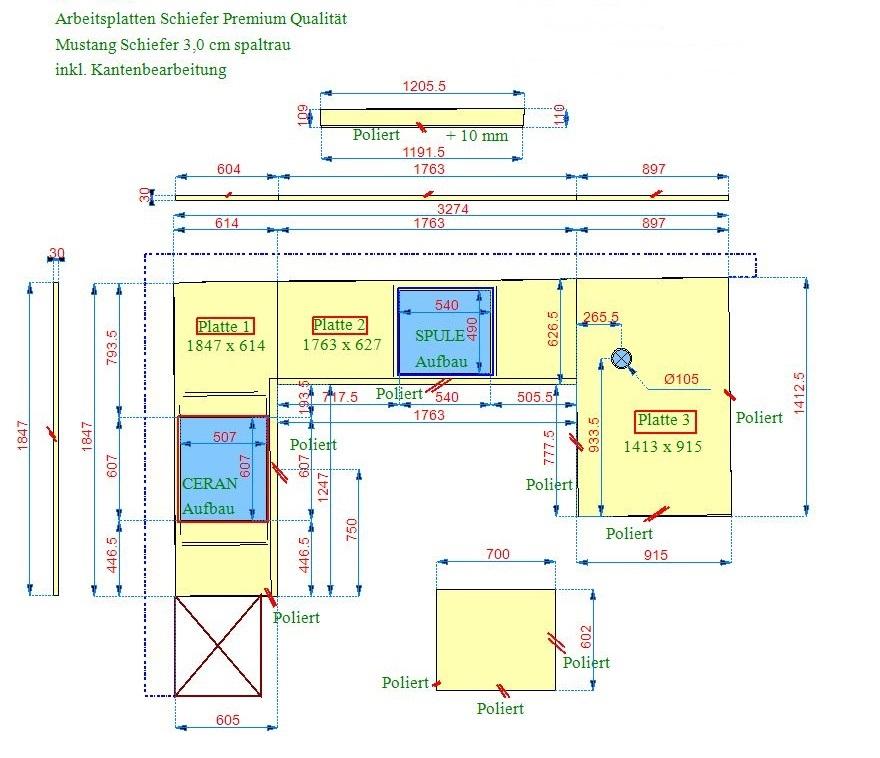 CAD Zeichnung der Mustang Schiefer Arbeitsplatten