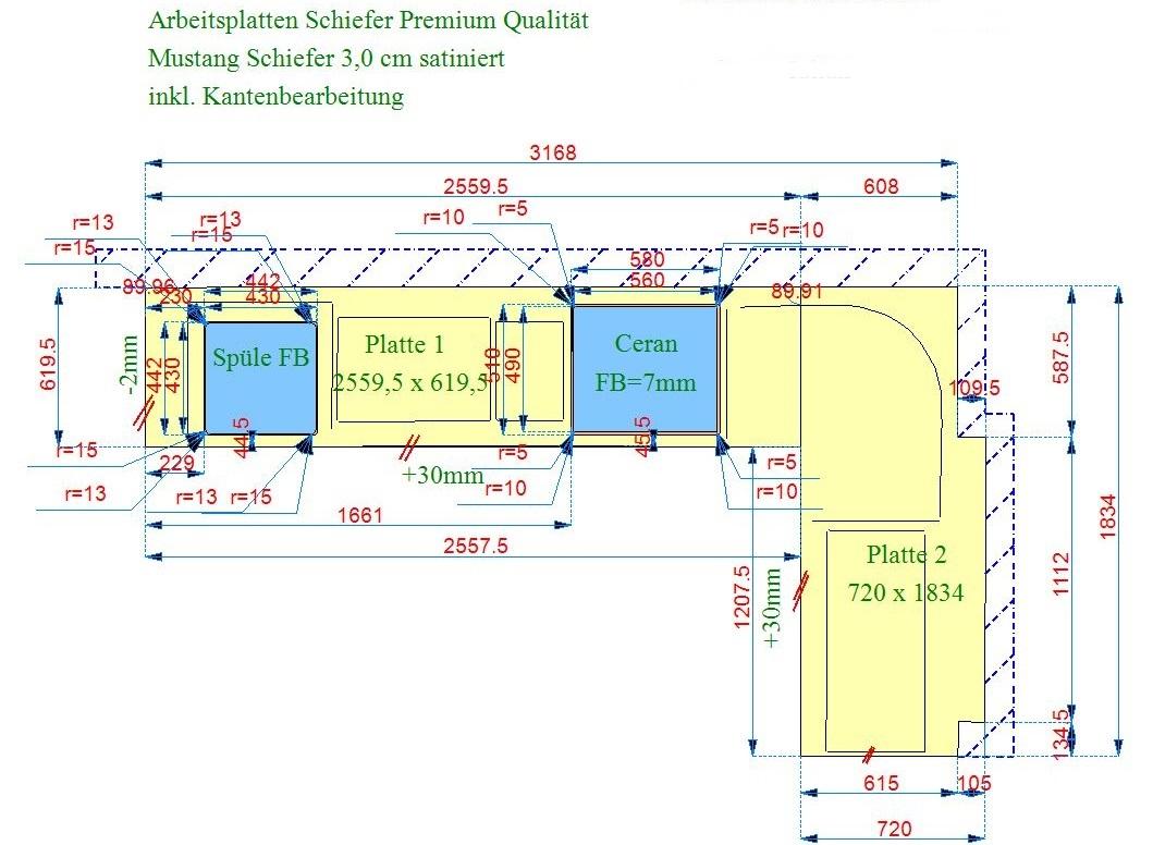 CAD Zeichnung der Schiefer Arbeitsplatten Mustang Schiefer