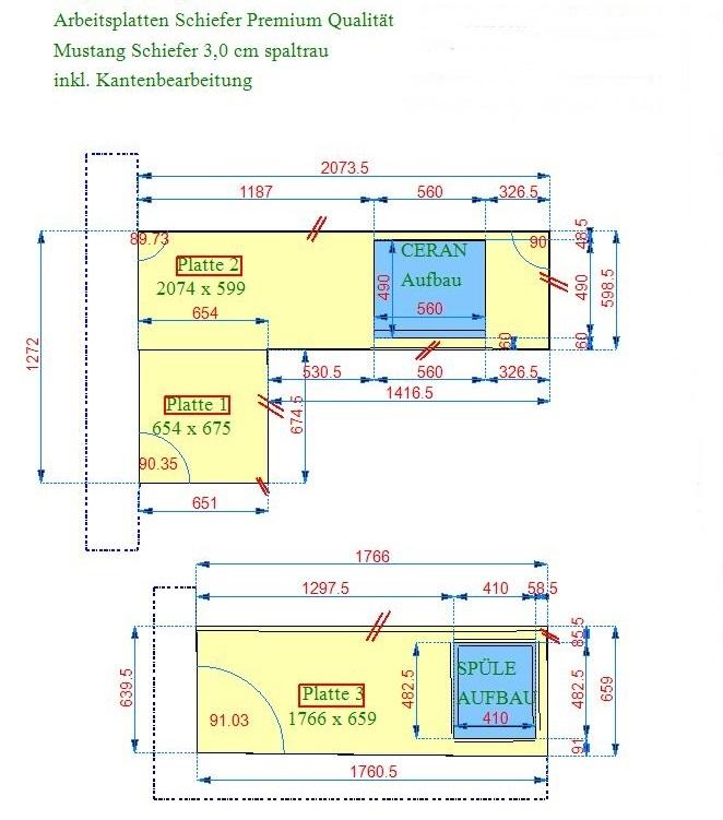 Zeichnung der Schiefer Arbeitsplatte aus dem Material Mustang Schiefer in Köln