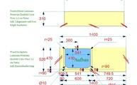 CAD Zeichnung der Laminam Waschtischplatte und Fensterbank
