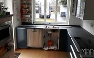 L-förmige Küche mit Keramik Arbeitsplatten